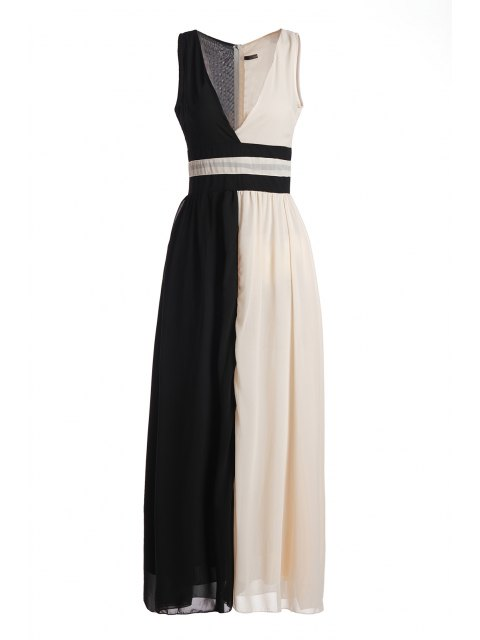 latest Plunging Neck White Black Splicing Dress - BLACK M Mobile
