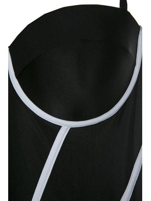 hot Halter Black and White One-Piece Swimwear - BLACK S Mobile