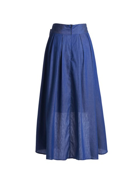 unique High-Waisted Bowknot High Low Skirt - BLUE 2XL Mobile