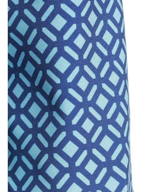 hot Long Sleeve Printed Lace Hem Dress - BLUE XL Mobile