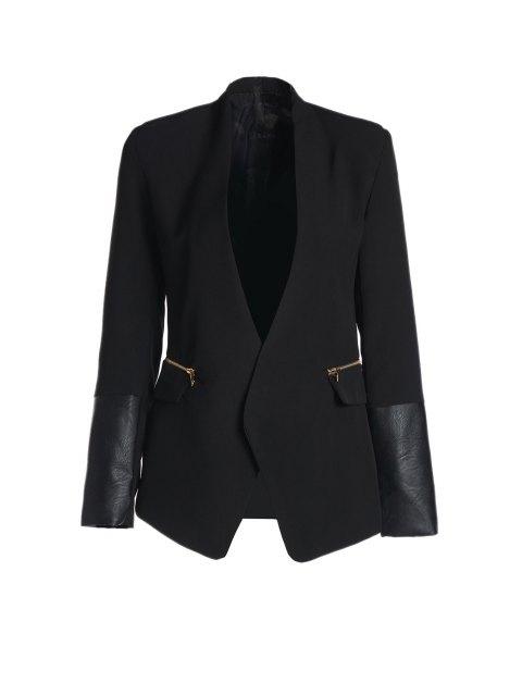 buy Shawl Collar Faux Leather Splicing Blazer - BLACK M Mobile