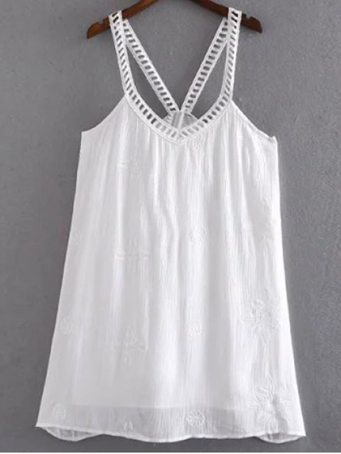 latest Floral Embroidery Cami Sundress - WHITE L Mobile