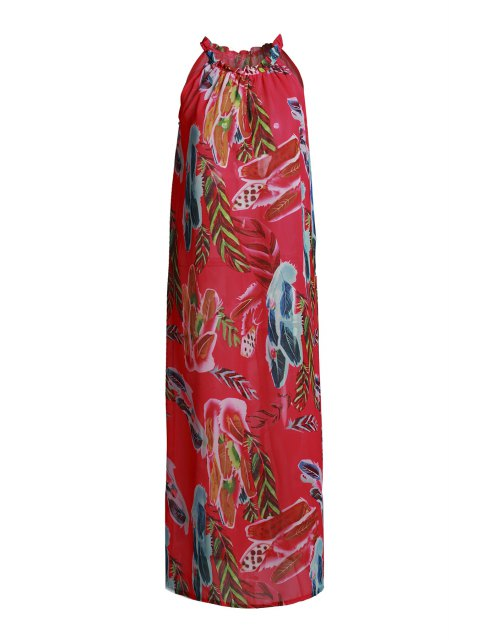 womens Sleeveless Floral Flare Dress - RED L Mobile