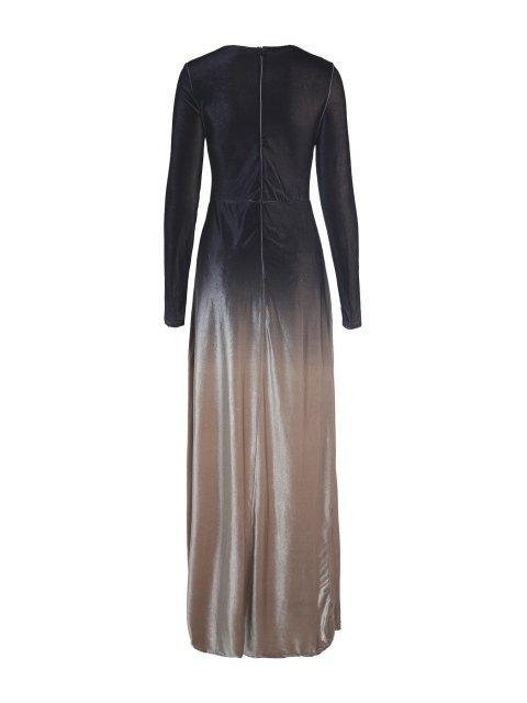 online Long Sleeves Side Slit Gradient Color Dress - BLACK XL Mobile