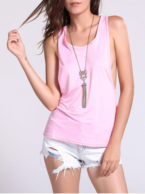 trendy Dropped Armhole Tank Top - SHALLOW PINK S Mobile