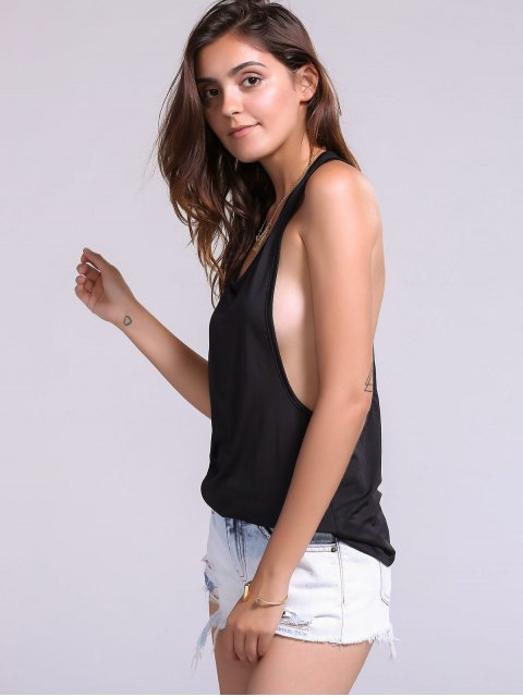 affordable Dropped Armhole Tank Top - BLACK S Mobile