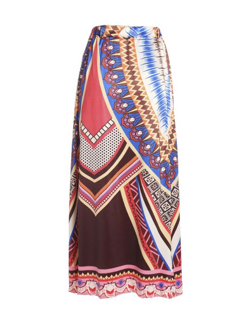 outfit Printed Loose Fitting Maxi Skirt - COLORMIX XL Mobile