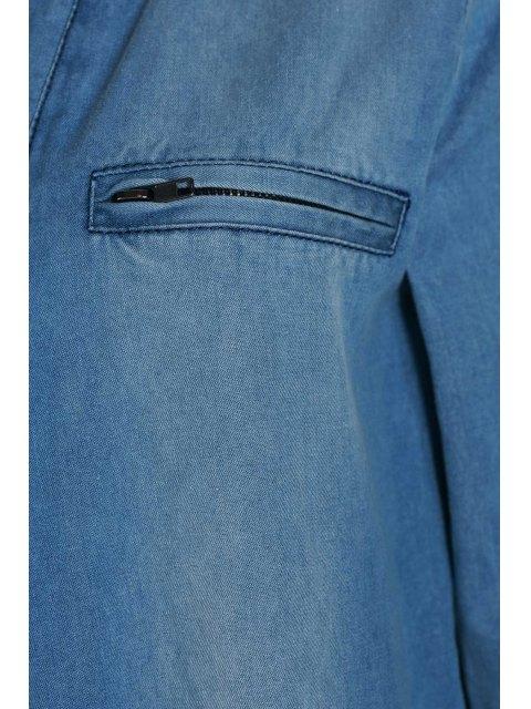 ladies Blue Denim V Neck Long Sleeve Jumpsuit - BLUE S Mobile