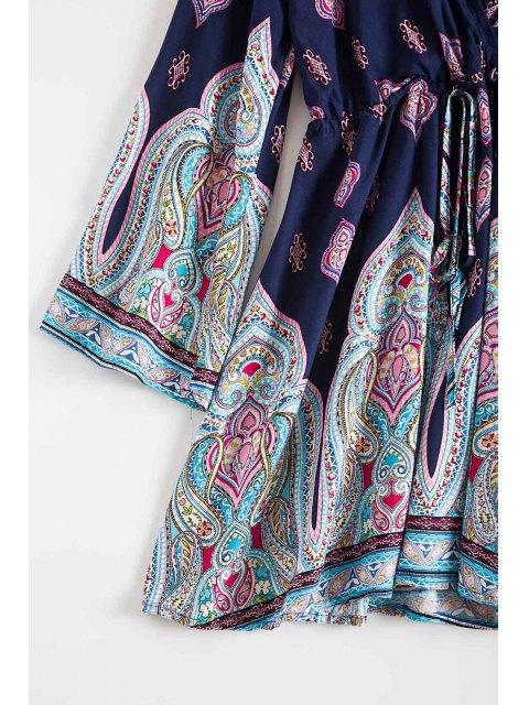 latest Plunging Neck Vintage Print Dress - DEEP BLUE S Mobile