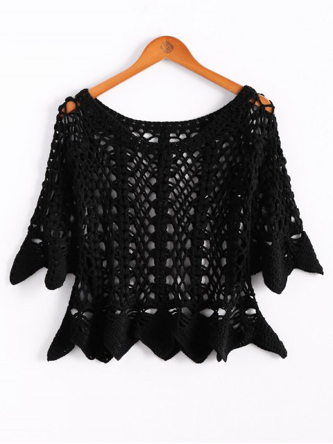 new Solid Color Cut Out Round Neck Butterfly Sleeve Sweater - BLACK ONE SIZE(FIT SIZE XS TO M) Mobile