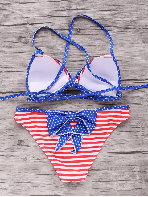 affordable American Flag Patriotic Bikini Bathing Suit - RED AND WHITE AND BLUE S Mobile