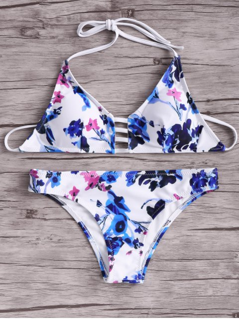 best Women Floral Halter Bikini Set - BLUE AND WHITE AND RED M Mobile