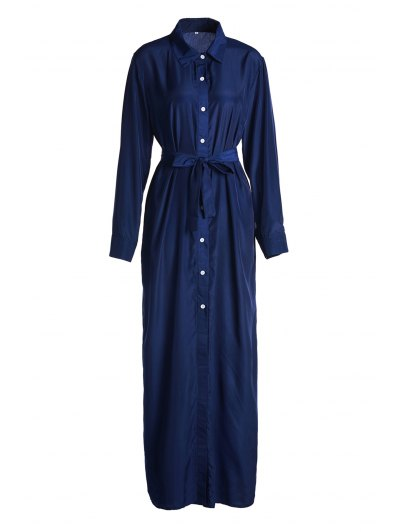Blue Shirt Neck Long Sleeve Maxi Dress - Blue