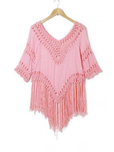 Tassels Crochet Blouse - Pink
