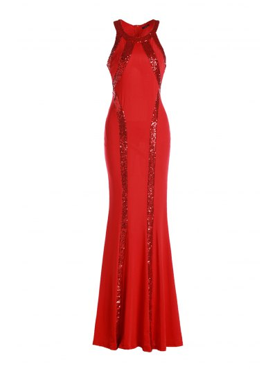 Sequined Mermaid Prom Dress - Red
