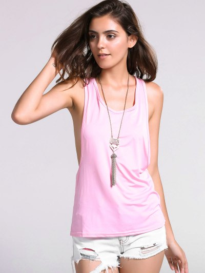 Dropped Armhole Tank Top - SHALLOW PINK S Mobile