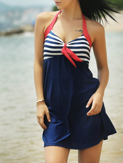 Halter One-Piece Striped Multi Convertible Way Swimwear - BLUE AND RED XL Mobile
