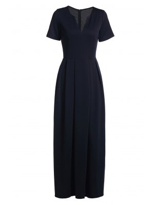 Short Sleeve Pure Color Maxi Dress - Deep Blue M