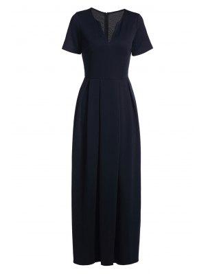 Short Sleeve Pure Color Maxi Dress - Deep Blue L