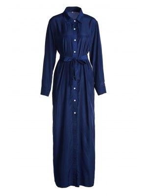 Blue Shirt Neck Long Sleeve Maxi Dress - Blue