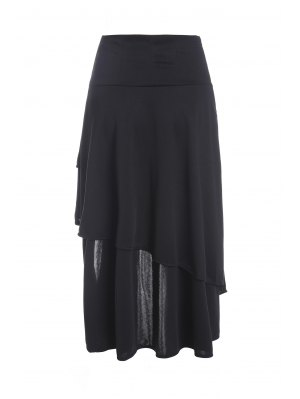 Gothic Lace-Up High-Waist A-Line Skirt - Black