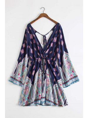Plunging Neck Vintage Print Dress - Deep Blue