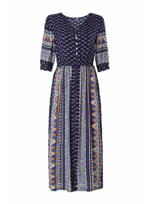 Half Sleeve High Slit Tribal Pattern Midi Dress - Purplish Blue
