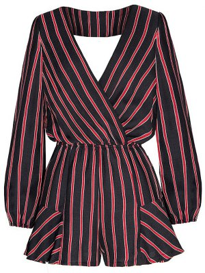 Striped Surplice Romper - Red With Black