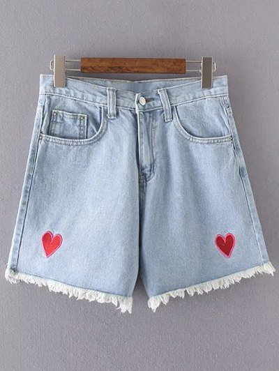 High Waisted Heart Embroidery Denim Shorts