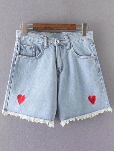 High Waisted Heart Embroidery Denim Shorts