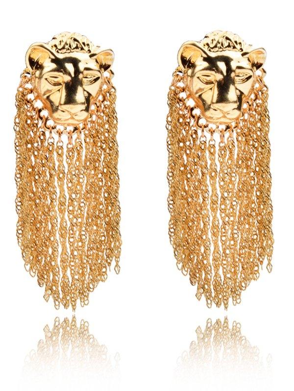 Leopard Head Fringe Tassel Earrings