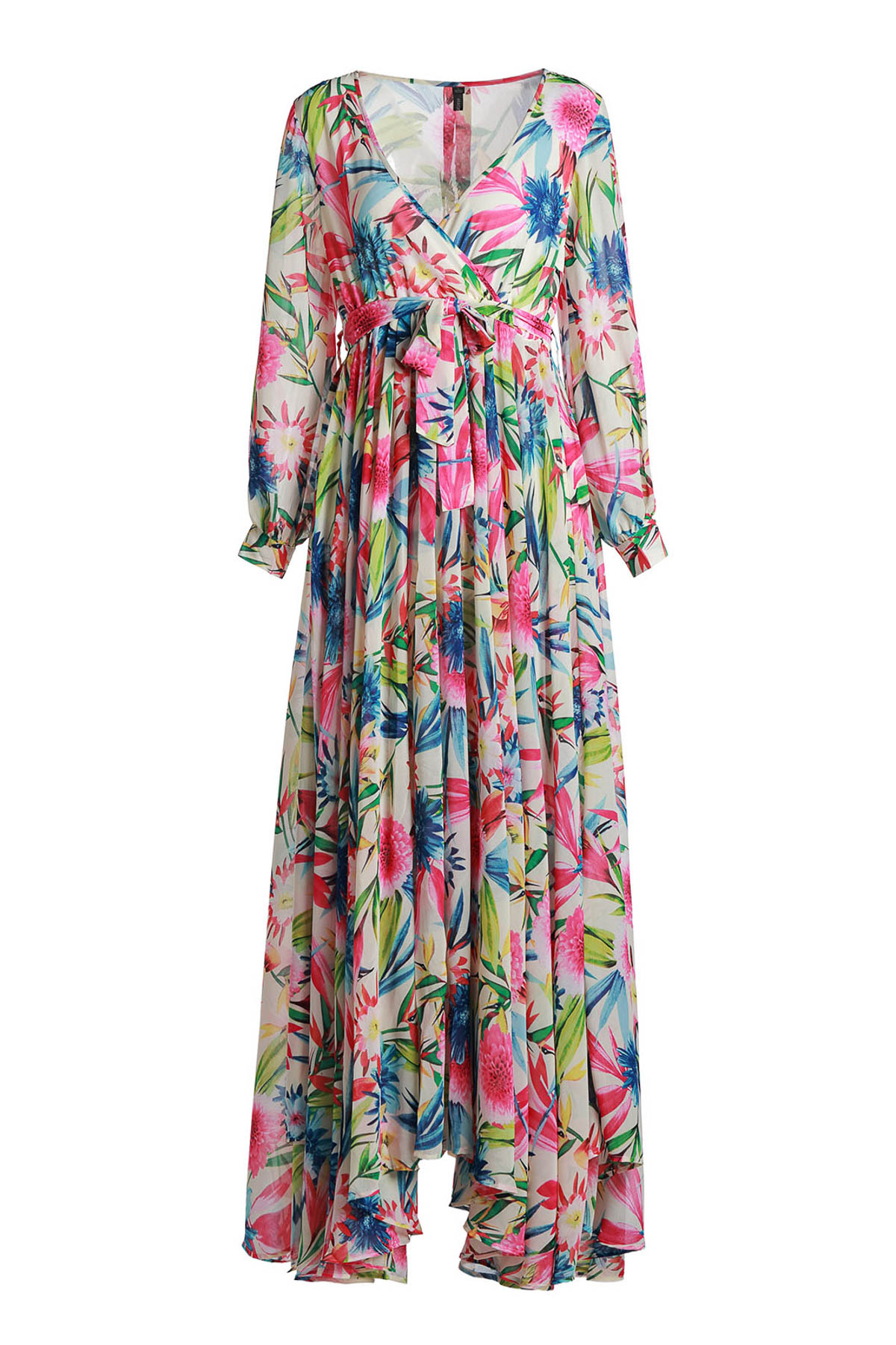 Plunging Neck Long Sleeve Full Floral Maxi Dress