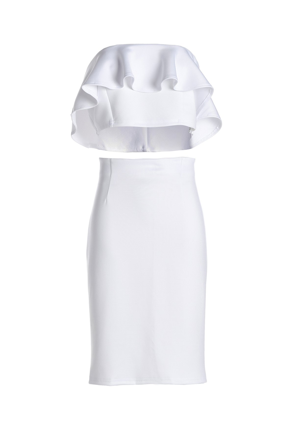 Ruffled Tube Top + High-Waisted Pencil Skirt Twinset - WHITE ONE SIZE(FIT SIZE XS TO M)