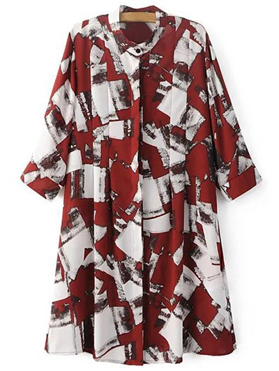 Stand Neck 3/4 Sleeve Checked Print Shirt Dress