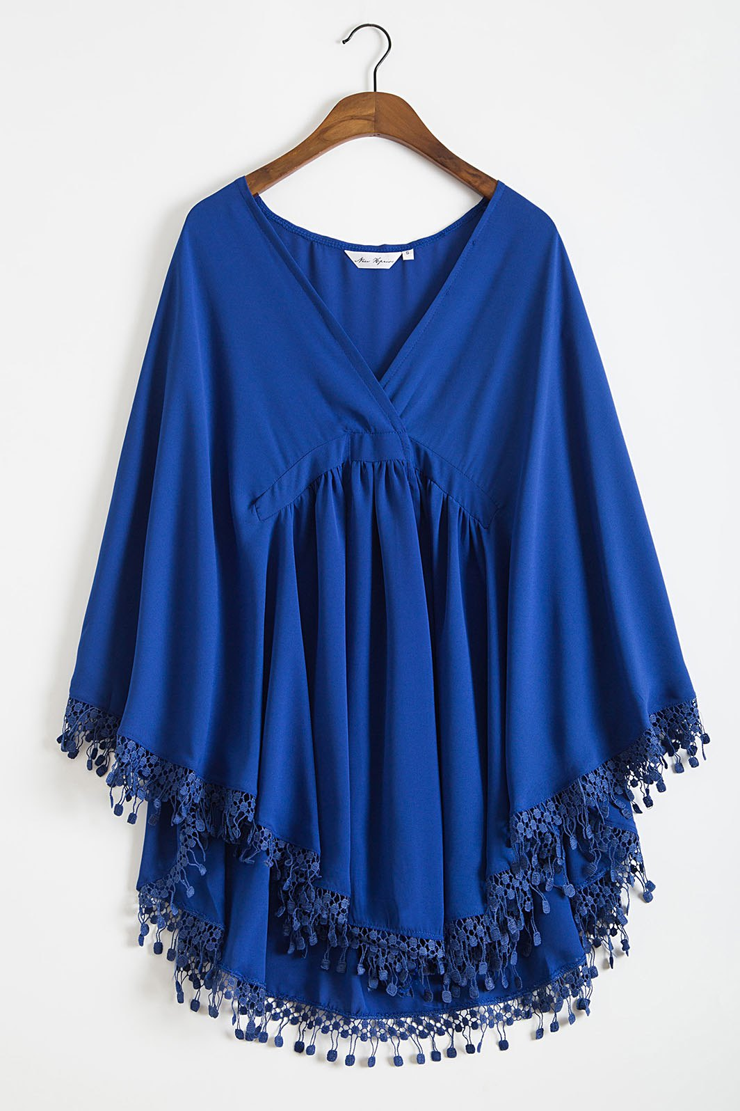 Plunging Neck Solid Color Lacework Spliced Cape Cover Up