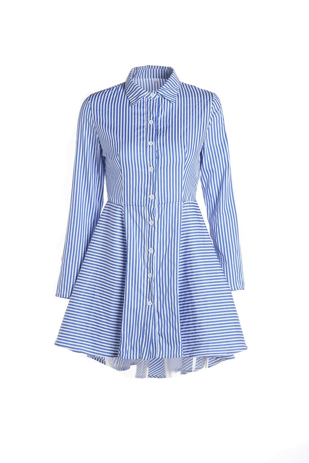 Turn-Down Collar Long Sleeve Striped Single-Breasted Dovetail Dress