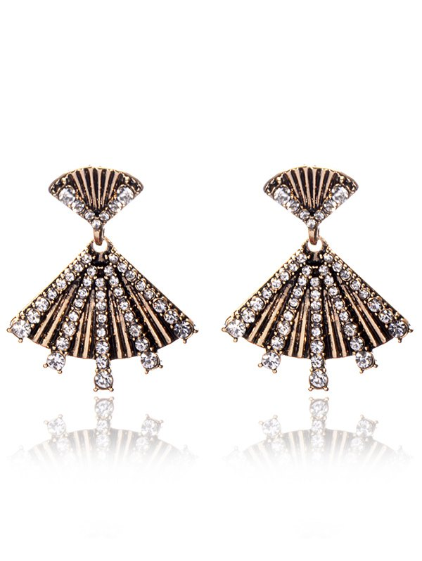 Rhinestone Hand Fan Dangle Earrings
