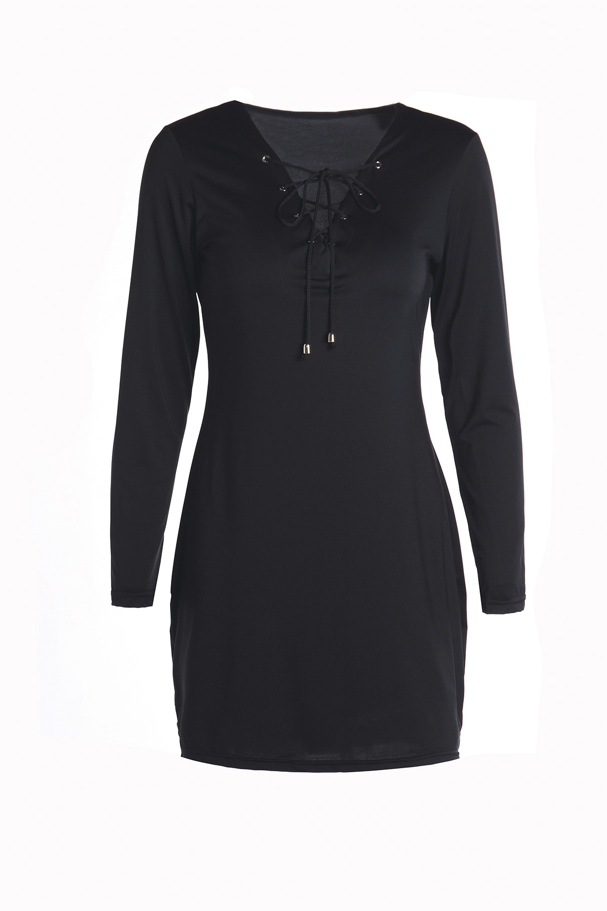 Long Sleeves Plunging Neck Hollow Out Black Dress