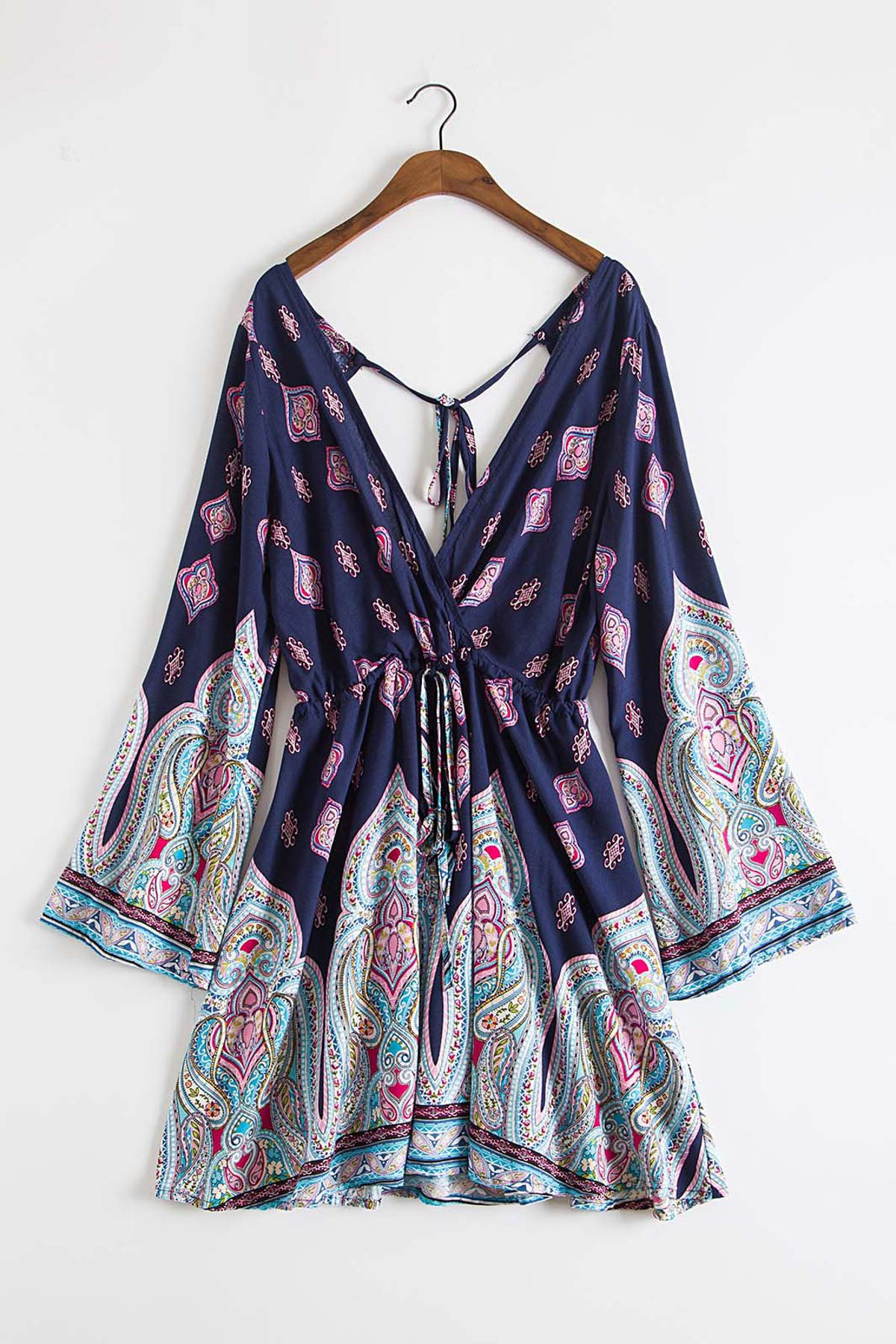 Plunging Neck Vintage Print Dress от Zaful.com INT