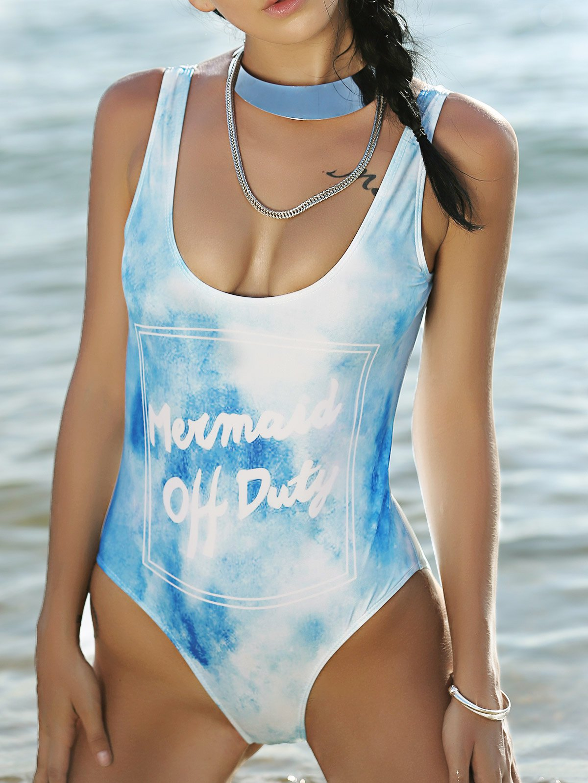 Plunging Neck High Cut Printed One-Piece Swimwear