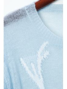 Fawn Pattern Broken Hole Sweater - LIGHT BLUE ONE SIZE(FIT SIZE XS TO M)