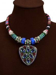 Tribal Faux Crystal Shield Pendant Necklace - Blue