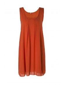 Sleeveless Solid Color Sundress - Orange Xl