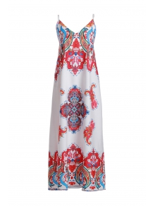 Spaghetti Strap Printed Maxi Dress - WHITE S