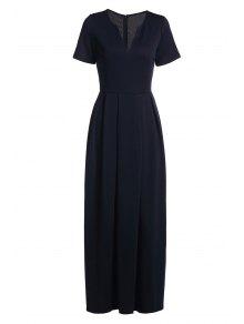 فستان قصيرة الأكمام لون الصلبة ماكسي - ازرق غامق Xl