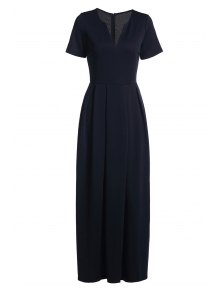 Short Sleeve Pure Color Maxi Dress - Deep Blue L
