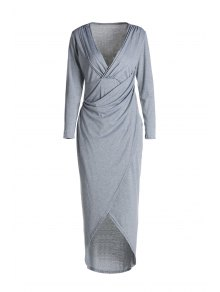 Plunging Neck Cross High Split Long Sleeve Dress - Light Gray M