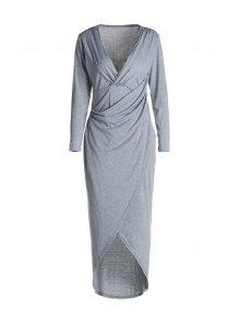 Plunging Neck Cross High Split Long Sleeve Dress - Light Gray Xl