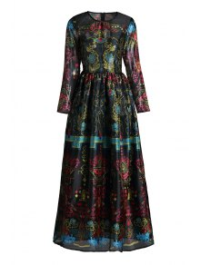 Colorful Vintage Print Maxi Voile Dress - Black Xl