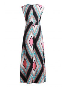 Square Collar Argyle Pattern Sleeveless Dress - COLORMIX S